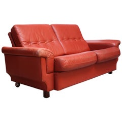 Danish Modern Loveseat in Coral Leather