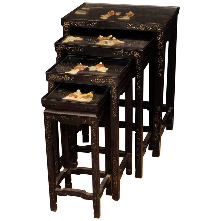 Set of Four French Black Side Tables in Lacquered Chinoiserie Wood, 20th Century For Sale
