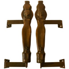 Pair of Large Art Nouveau Water Nymphe Bronze Push and Pull Door Handles