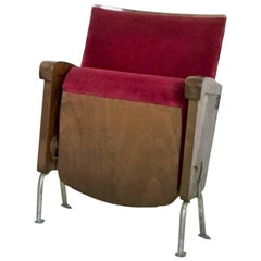 Red Velvet Cinema Seat from Ascol, Italy, 1950s
