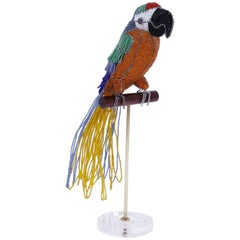 Glass Beaded Parrot Sculpture