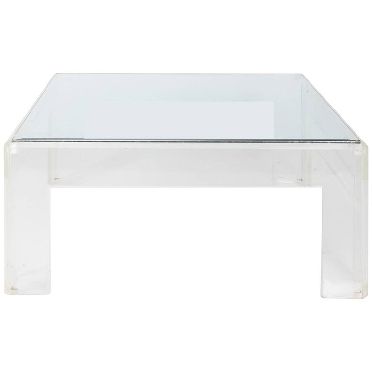 Lucite Coffee Table.Mid Century Modern Square Lucite Coffee Table