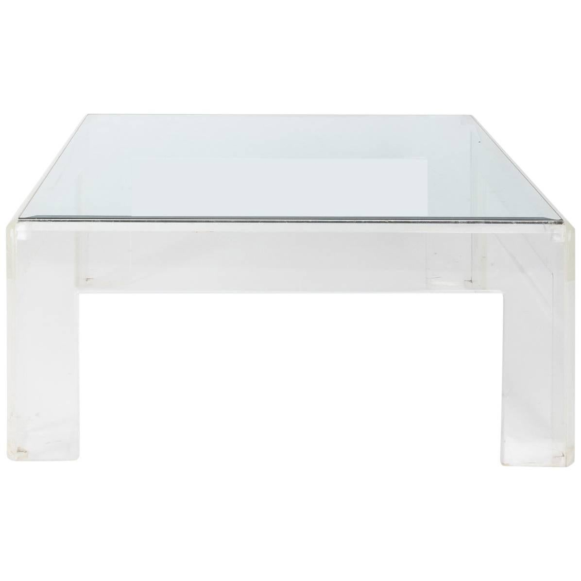 Mid Century Modern Square Lucite Coffee Table For Sale