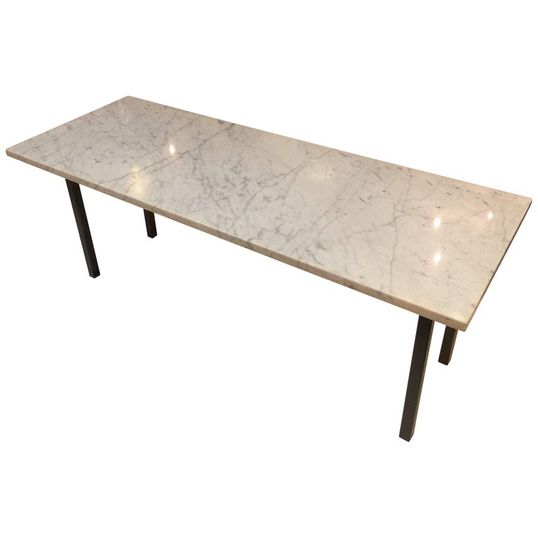 Sleek modern narrow rectangular coffee table at 1stdibs for Narrow cocktail table