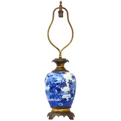 French Table Lamp Blue and White Porcelain Gilded Bronze Chinoiserie, circa 1920