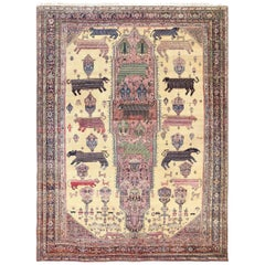 Large Animal Motif Antique Farahan Persian Rug. Size: 12 ft 2 in x 16 ft