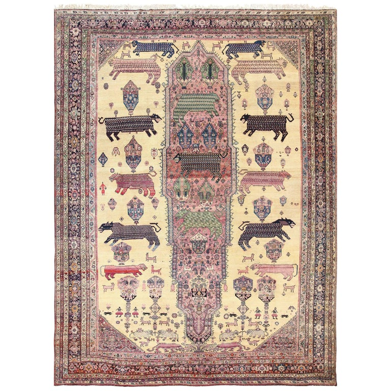 Large Animal Motif Antique Farahan Persian Rug