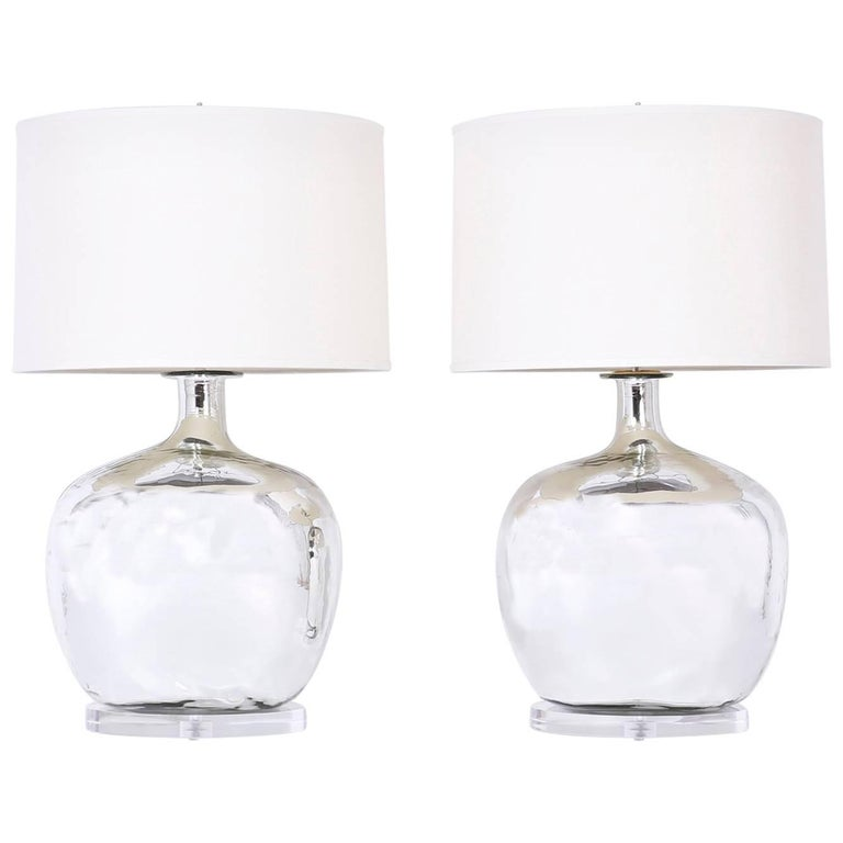 Pair of Silver or Mercury Glass Table Lamps