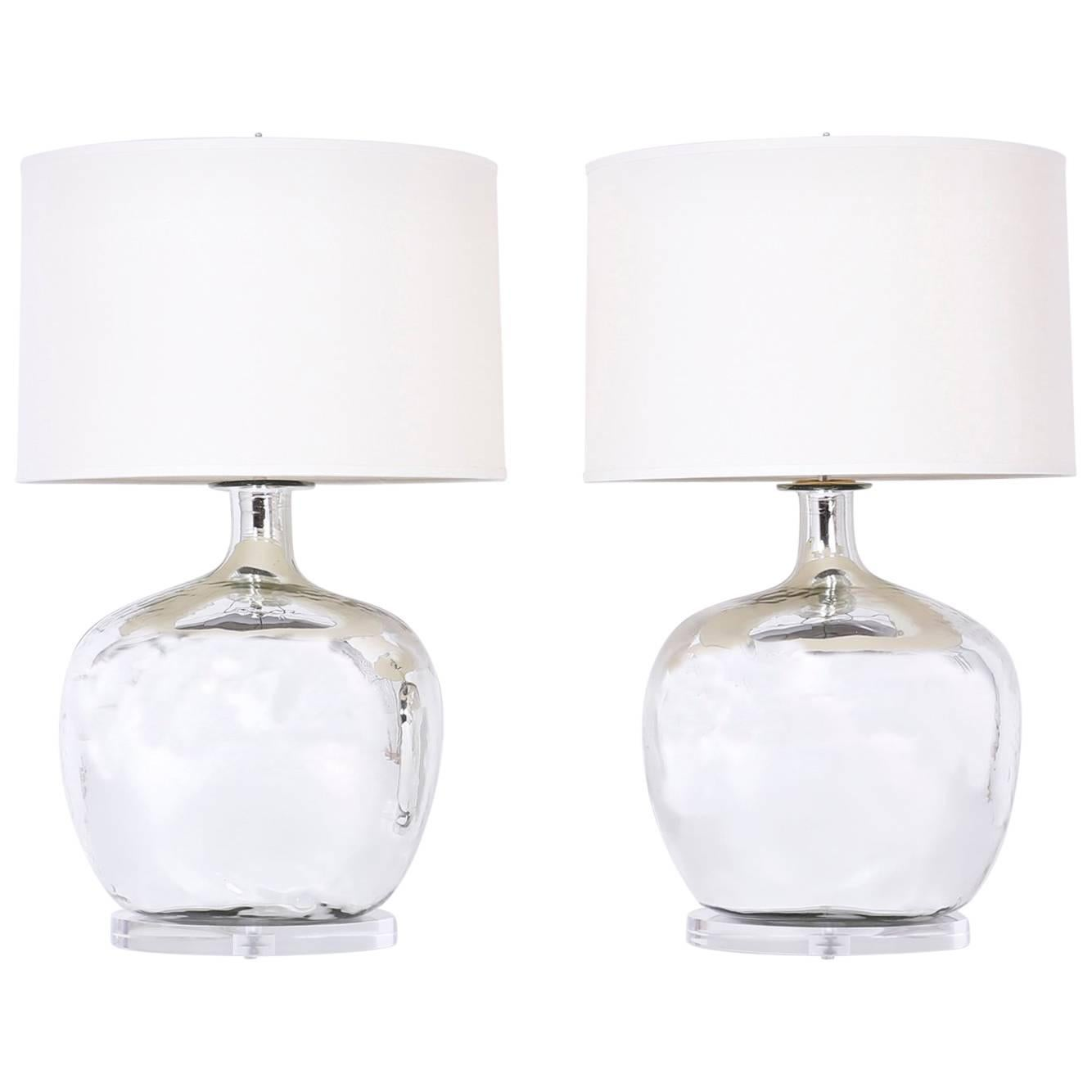 Pair Of Silver Or Mercury Glass Table Lamps For Sale