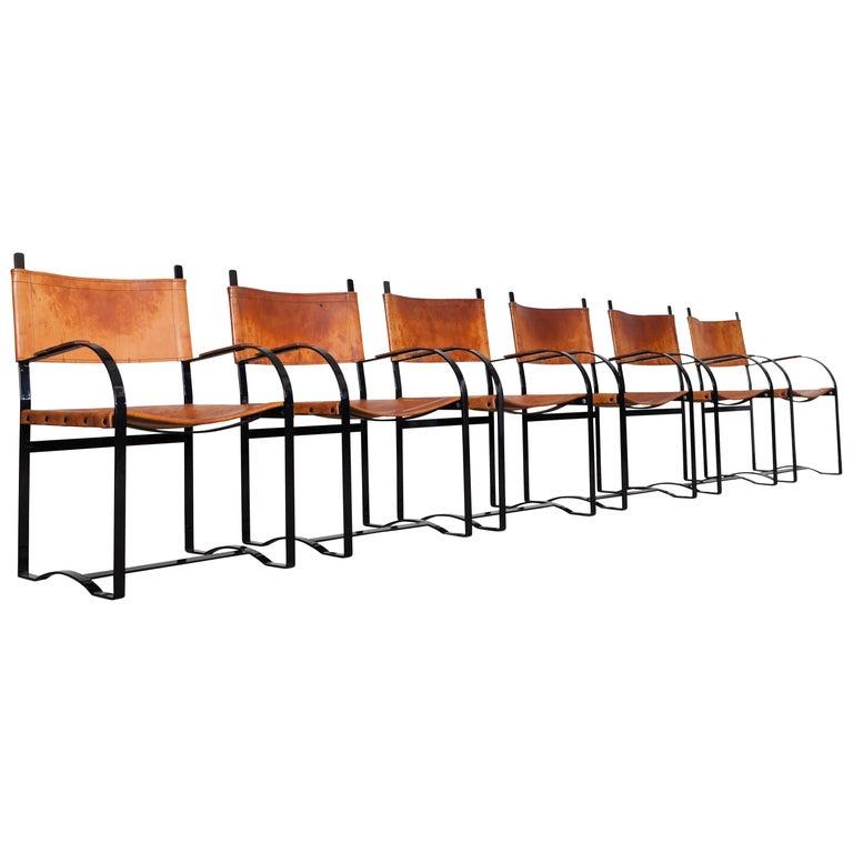 Six Black Cognac Leather Armchairs