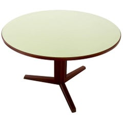 Round Mahogany and Formica Dining Table, Italy, 1970s