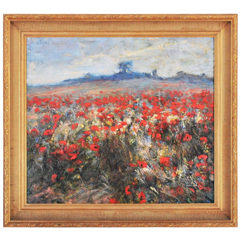 Oil on Canvas titled 'Poppies' by J Wanat
