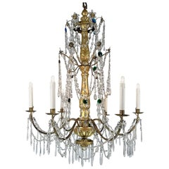 18th Century Italian Genoese Empire Giltwood Crystal Chandelier