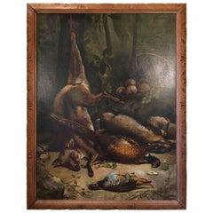 French Still Life Oil Painting on Canvas with Carved Frame