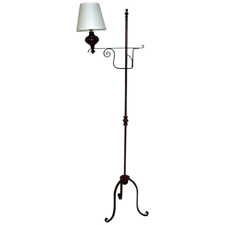 19th Century Primitive Painted Early American Floor Lamp