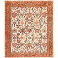 Ivory Background Antique Sultanabad Persian Rug