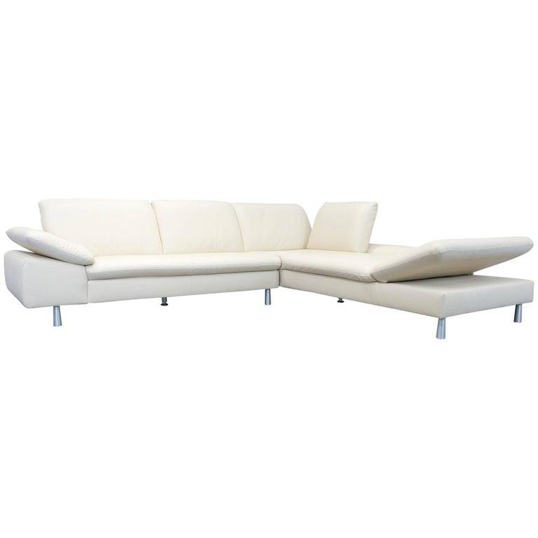 Willi Schillig Loop Designer Corner Sofa Leather Beige Function Couch Modern
