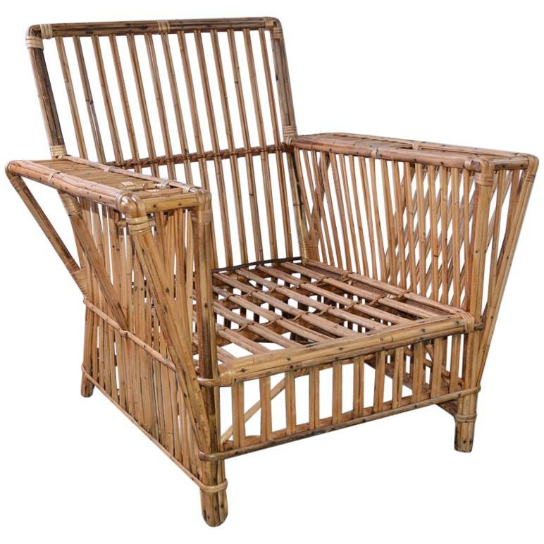 Antique Stick Wicker Armchair For Sale