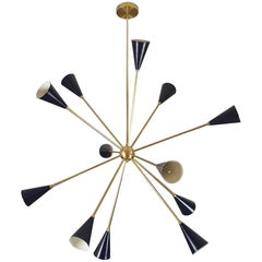 "Sculptural Brass and Enamel ""Spore"" Chandelier by Blueprint Lighting, 2017"