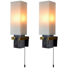 Pair of Square Wall Lights Italian 1960's with Opaline Glass Shades