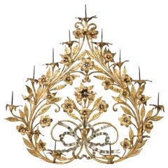 Antique Gilt Metal 12-Candle Floral Wall Sconce