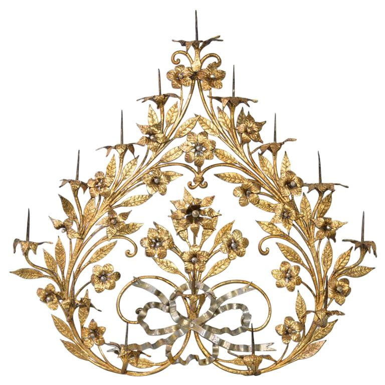 Antique Gilt Metal 12-Candle Floral Wall Sconce For Sale