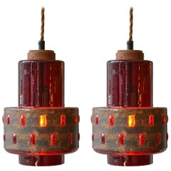 1960s Pair of Copper and Red Colored Glass Nanda Still Pendants