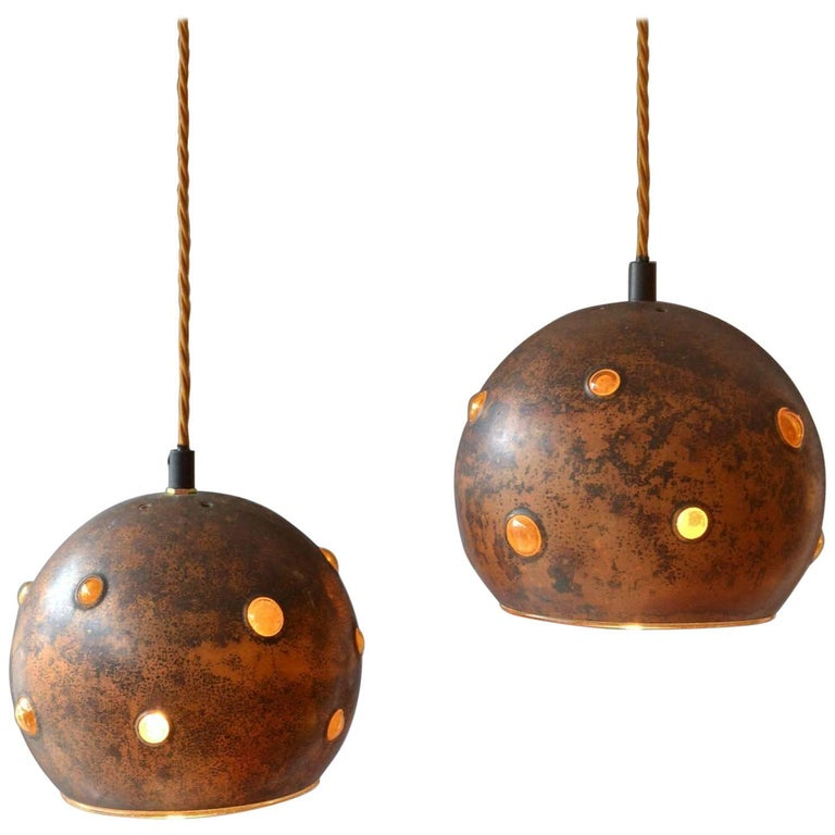 1960s Pair of Spherical Copper and Yellow Glass Pendant Lamps by Nanny Still For Sale