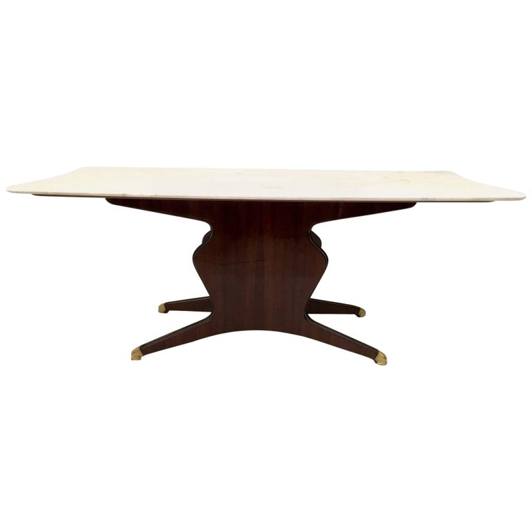 Wood Dining Table in the Style of Osvaldo Borsani with Carrara Marble Top