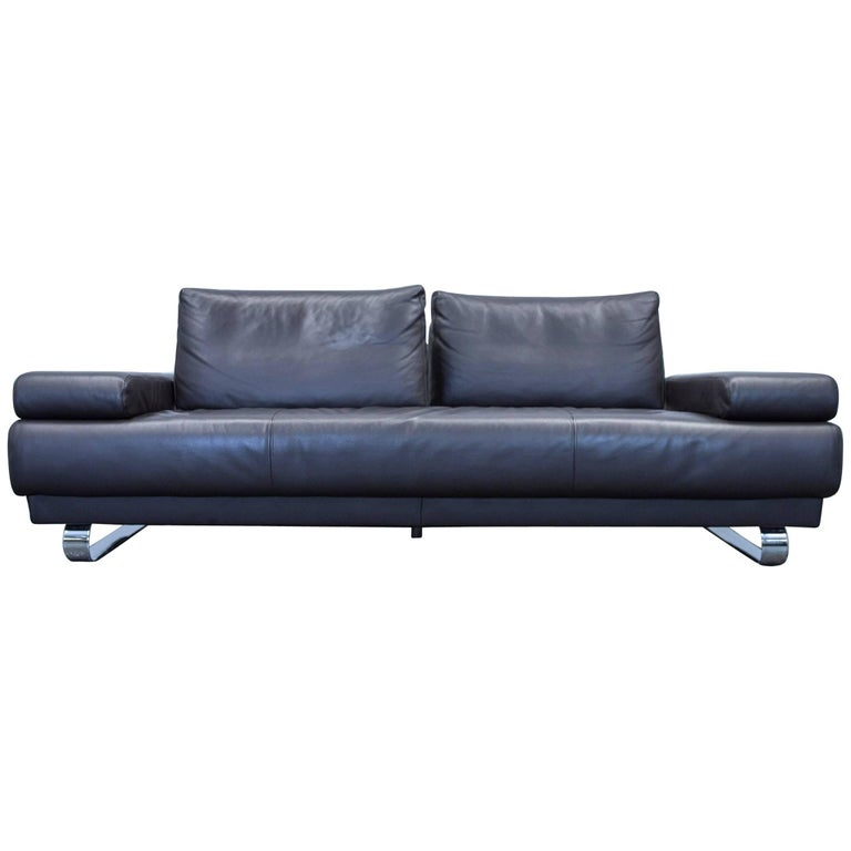 ewald schillig harry designer sofa leather black three seat function couch for sale at 1stdibs. Black Bedroom Furniture Sets. Home Design Ideas