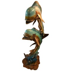 Large Mid-Century Modern Multi-Color Metal Sculpture of Two Fish