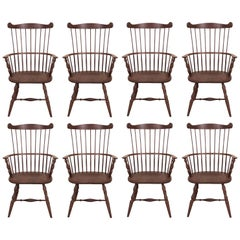 Set of Eight Solid Cherry Windsor Armchairs, Made in the U.S.A