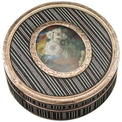 Antique French 18-Karat Gold-Mounted, Painted Miniature Snuff Box, circa 1800