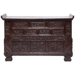Chinese Carved Ten-Drawer Chest
