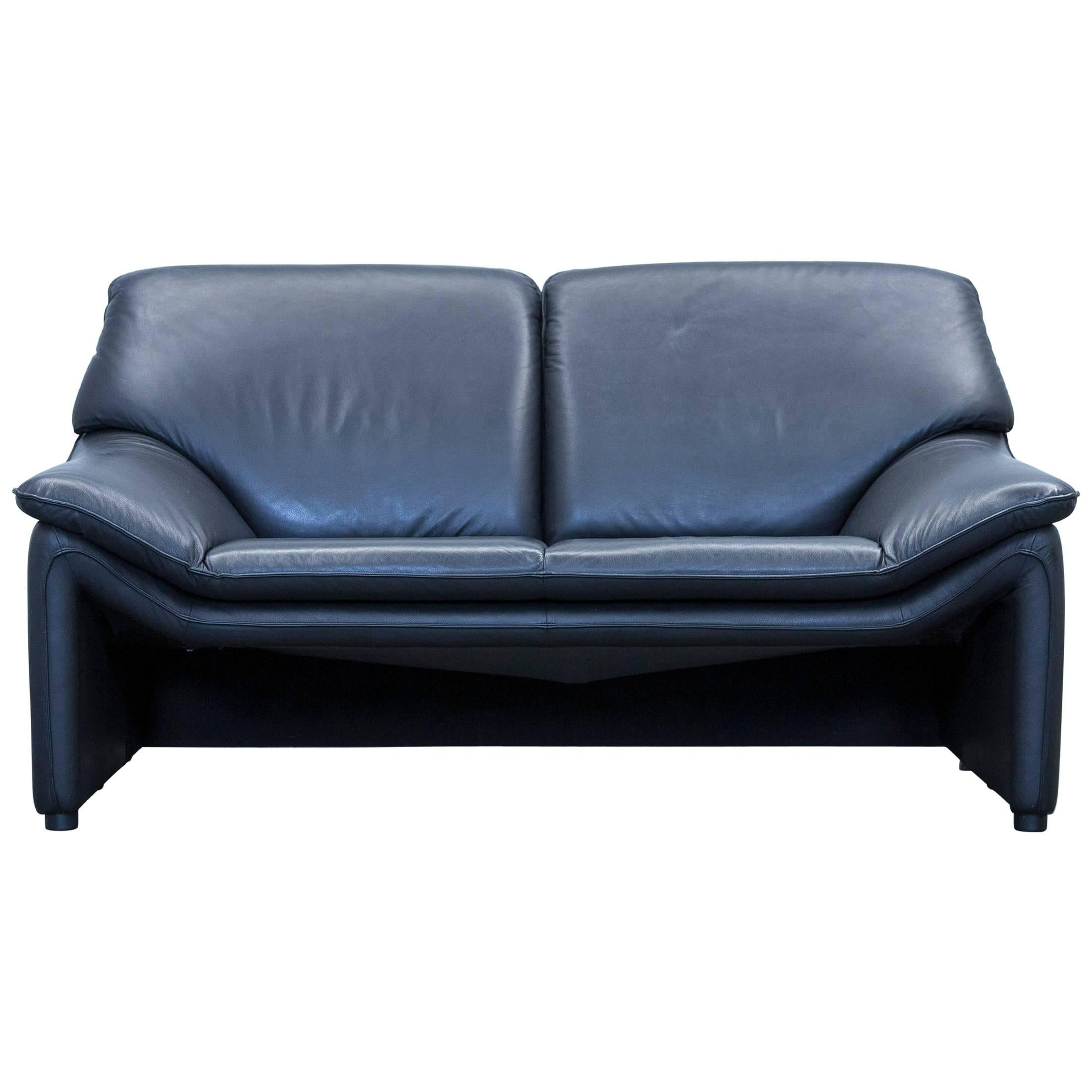 Delightful Laauser Atlanta Designer Sofa Leather Black Two Seat Couch For Sale