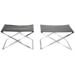 Pair of Poul Kjaerholm PK91 Folding Stools Created by E. Gold Christensen