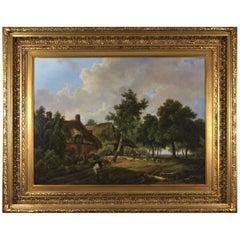 Village Scene in a Landscape Setting, Flemish School, 19th Century Oil on Canvas