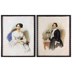 Pair of Biedermeier Watercolor Paintings, Signed, Austria, 1851
