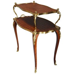 French 19th Century Kingwood Two-Tier Parquetry Serpentine Shaped Etagere