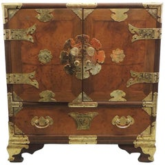 Vintage Chinese Chest with Doors and Embellished Drawers