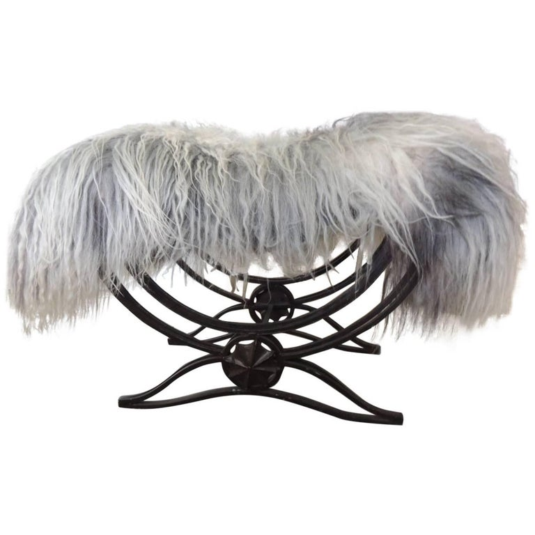 Vintage Art Deco Iron Bench with Fur Over-Lay Cover