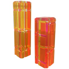 Pair of Large Faceted Lucite Tower Sculptures