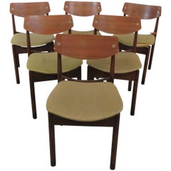 Six Danish Style Dining Side Chairs