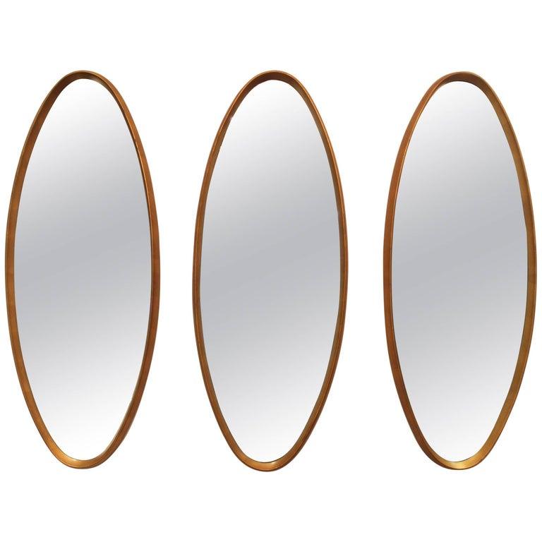 Mid Century Modern Gold Leaf Oval Mirrors