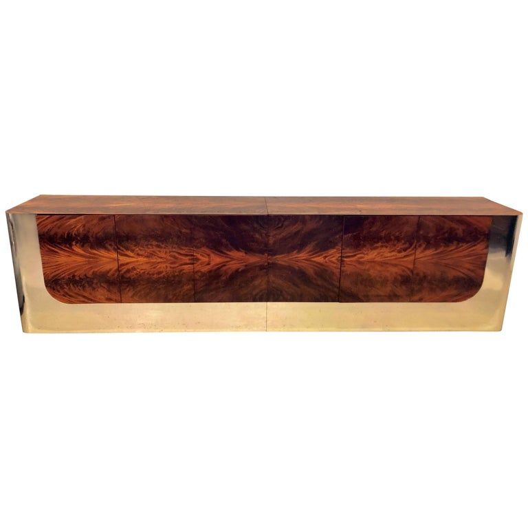Monumental Sideboard of Chrome and Burl Wood by Pace Collection