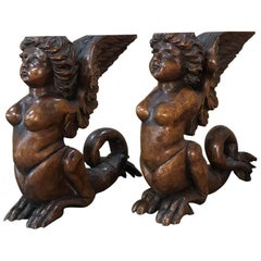 Pair of 19th Century Mythical Carved Walnut Sculptures for Bookends