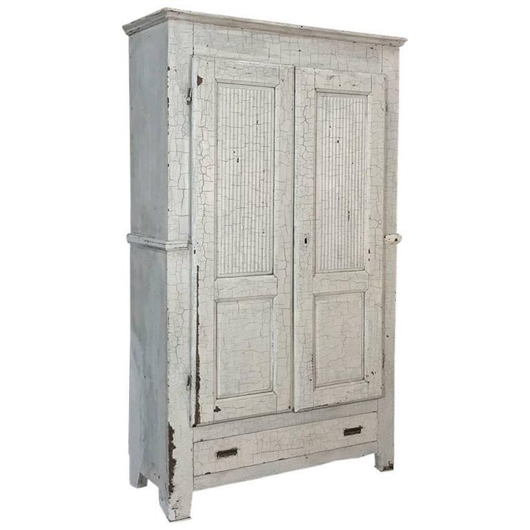 19th Century Swedish Rustic Distressed Painted Armoire