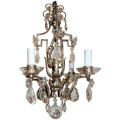 Baguès French Silver Gilt Rock Crystal Beaded Petite Four-Arm Chandelier
