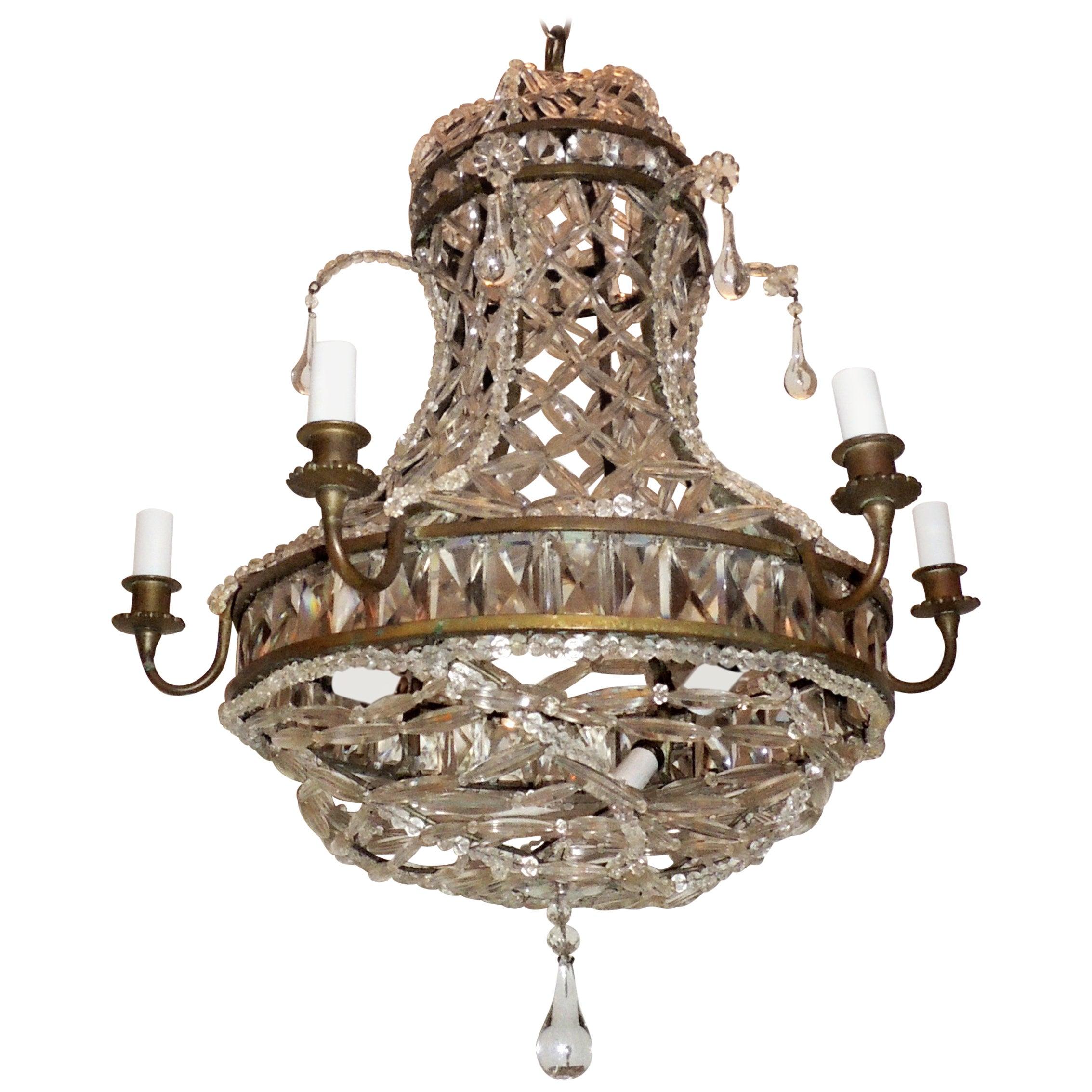 Wonderful French Bronze Crystal Lattice Beaded Basket Drop Chandelier Fixture