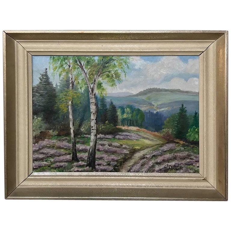 Vintage Framed Oil Painting on Canvas by F. Dewert, Dated 1945